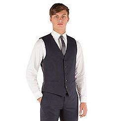 Red Herring - Blue check 5 button front slim fit suit waistcoat
