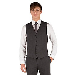 Red Herring - Charcoal puppytooth 5 button front slim fit suit waistcoat