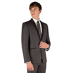 Red Herring - Charcoal slim fit 1 button contrast peak lapel dresswear jacket