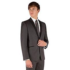 Red Herring - Charcoal slim fit 1 button contrast peak lapel dresswear jacket