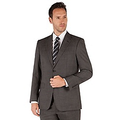 Jeff Banks - Charcoal pindot 2 button front regular fit black label suit jacket