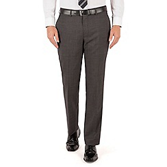 Jeff Banks - Cha regularcoal pindot plain frontR fit black label suit trouser