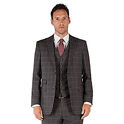 Jeff Banks - Grey jaspe check 2 button front regular fit black label suit jacket