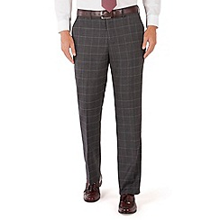 Jeff Banks - Grey jaspe check plain front regular fit black label suit trouser