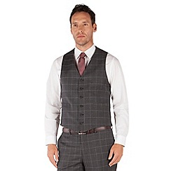 Jeff Banks - Grey jaspe check 6 button front regular fit black label suit waistcoat