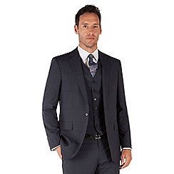 Jeff Banks - Blue check 1 button front regular fit black label suit