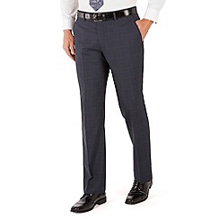 Jeff Banks - Blue check plain frontR fit black label suit trouser