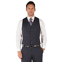 Jeff Banks - Blue check 6 button frontR fit black label suit waistcoat