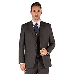 Jeff Banks - Grey twill 3 button front regular fit luxury suit