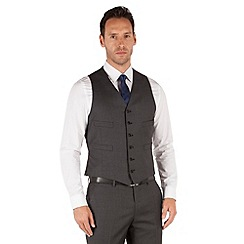 Jeff Banks - Grey twill 6 button frontR fit luxury suit waistcoat
