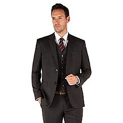 Jeff Banks - Grey and blue check 2 button front regular fit luxury suit jacket