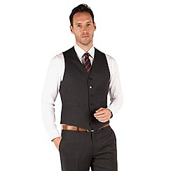 Jeff Banks - Grey and blue check 6 button front regular fit luxury suit waistcoat
