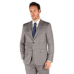 Jeff Banks - Light grey check 2 button front regular fit luxury suit jacket