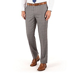Jeff Banks - Light grey check plain front regular fit luxury suit trouser