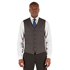 Stvdio by Jeff Banks - Grey blue mustard check 6 button front tailored fit ivy league waistcoat