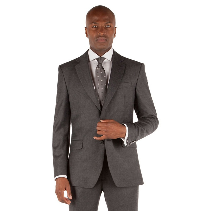 Stvdio by Jeff Banks Grey twill 2 button front tailored fit ivy league suit jacket