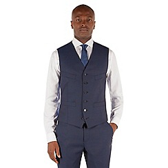 Stvdio by Jeff Banks - Blue semi plain 6 button front tailored fit suit waistcoat