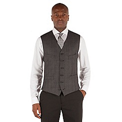 Stvdio by Jeff Banks - Heavy grey flannel check 6 button front tailored fit waistcoat