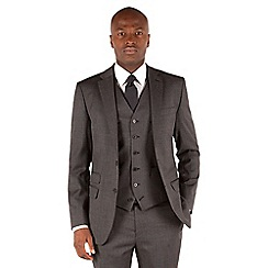 Stvdio by Jeff Banks - Grey semi plain 2 button front tailored fit luxury suit jacket