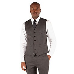 Stvdio by Jeff Banks - Grey semi plain 6 button front tailored fit suit waistcoat