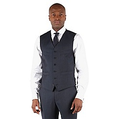 Stvdio by Jeff Banks - Blue twill 6 button tailored fit luxury suit waistcoat
