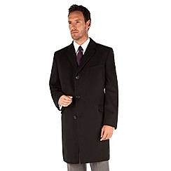 Karl Jackson - Black melton tailored fit overcoat