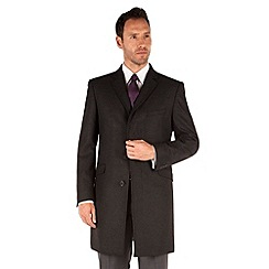Racing Green - Charcoal puppytooth tailored fit overcoat