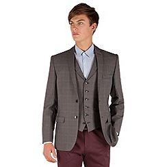 Red Herring - Grey check with tan overcheck 2 button jacket