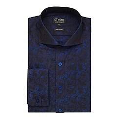 Stvdio by Jeff Banks - Navy Floral Jacquard Shirt