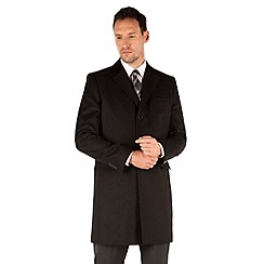 J by Jasper Conran - Black melton 3 button front tailored fit coat