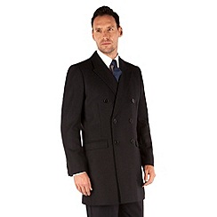 J by Jasper Conran - Navy herringbone double breasted tailored fit coat