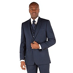Hammond & Co. by Patrick Grant - Blue hopsack 2 button front tailored fit savile row suit