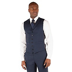 Hammond & Co. by Patrick Grant - Blue hopsack 6 button front tailored fit suit waistcoat