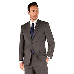Racing Green - Grey plain regular fit 2 button suit