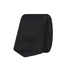 Stvdio by Jeff Banks - Black slim Plain silk Tie