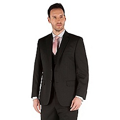 Racing Green - Plain black twill regular fit 2 button suit