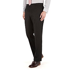 Racing Green - Plain black twill regular fit suit trousers