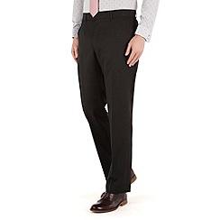 Racing Green - Plain black twill regular fit suit trousers