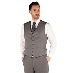 Occasions - Grey plain weave regular fit 5 button waistcoat