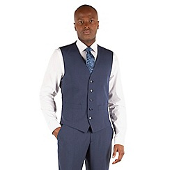 Occasions - Blue plain weave regular fit 5 button waistcoat
