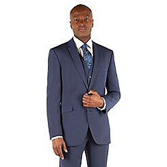 Occasions - Blue plain weave tailored fit 2 button jacket