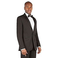 Occasions - Black plain weave dresswear tailored fit 1 button suit jacket.