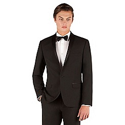 Occasions - Occasions Black plain weave dresswear slim fit 1 button suit jacket.