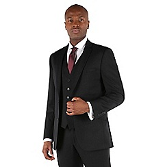 Racing Green - Plain black twill tailored fit 2 button suit jacket