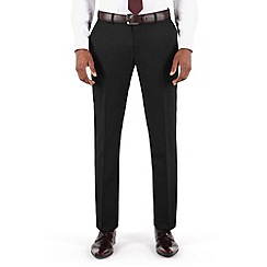 Racing Green - Plain black twill tailored fit suit trouser