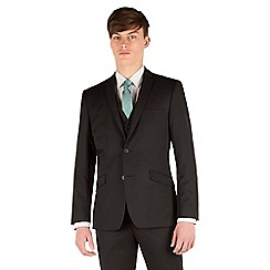 Racing Green - Plain black twill slim fit 2 button suit jacket