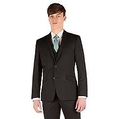 Racing Green - Plain black twill slim fit 2 button suit jacket