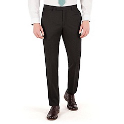 Racing Green - Plain black twill slim fit suit trouser