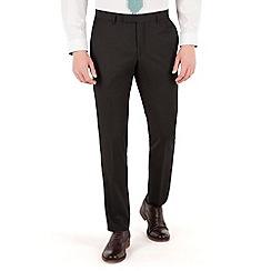 Racing Green - Plain black twill slim fit suit trouser