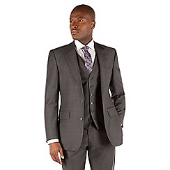 Hammond & Co. by Patrick Grant - Grey herringbone 2 button front tailored fit st james 3 piece suit